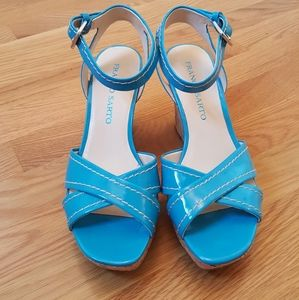 Franco Sarto Turquoise Wedge Heel Sandal Sz 7M